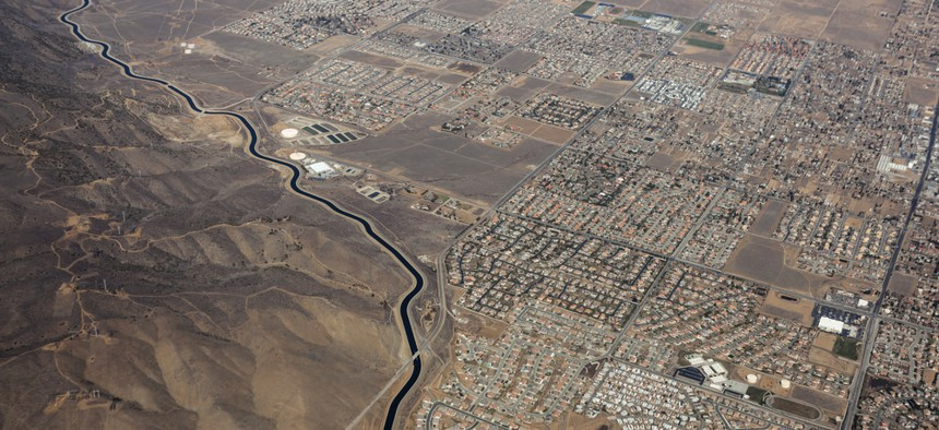 The California Aqueduct snakes past Palmdale.