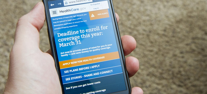A user accesses HealthCare.Gov in March on his smartphone.
