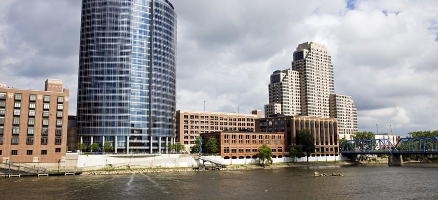 The Grand River runs through downtown Grand Rapids.