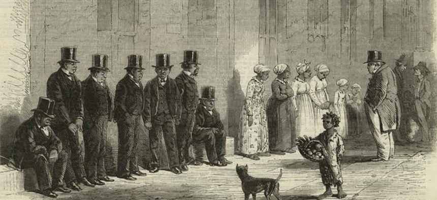 An 1861 engraving shows slaves for sale in New Orleans.