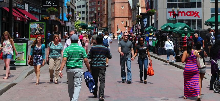 Shoppers in Boston, Massachusetts.