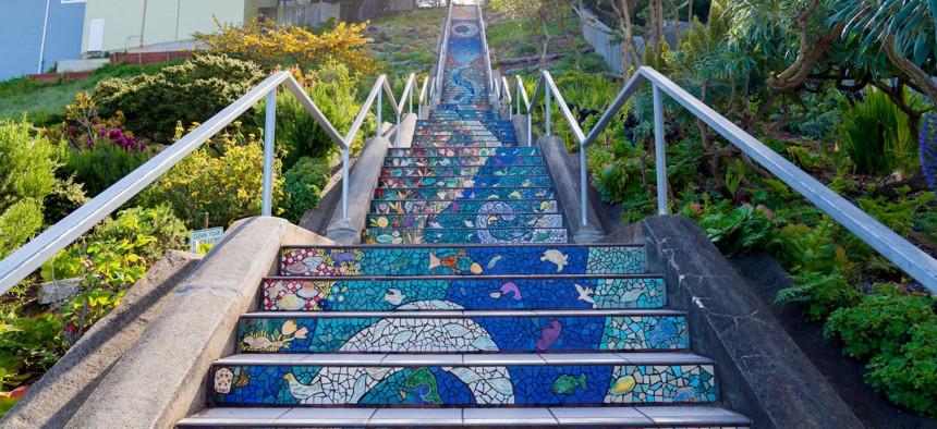 The Moraga Steps in San Francisco, California