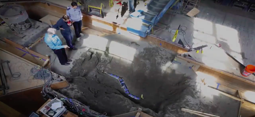 A video snapshot of a steel pipe designed to be earthquake resilient that underwent testing at Cornell University in July.