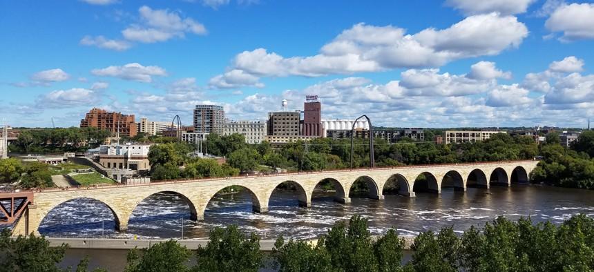 The Stone Arch Bridge crosses the Mississippi River in Minneapolis.
