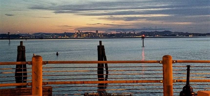 San Francisco, as seen from the Craneway Pavilion in Richmond.