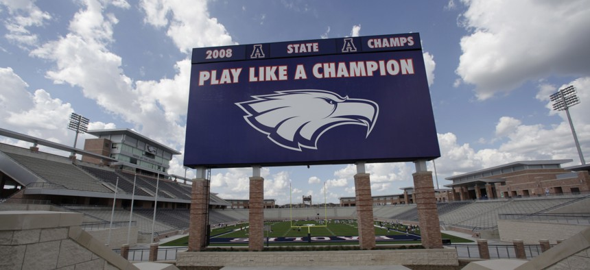 Eagle Stadium in Allen, Texas, cost more than $72 million and holds as many fans as an NBA arena. But an even pricier high school football stadium is getting built just a few miles away.