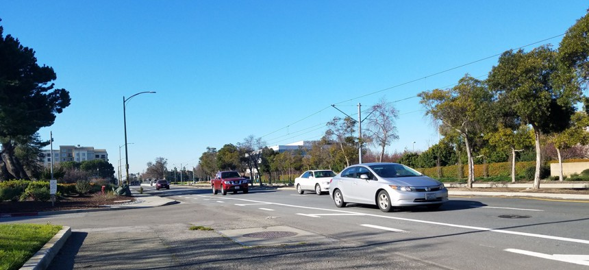 A VTA light-rail line runs along N. 1st Street in San José,