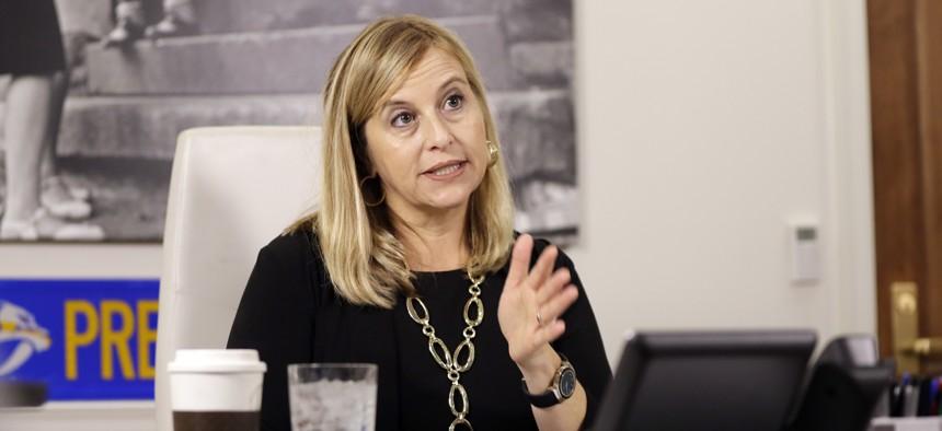 Nashville Mayor Megan Barry speaks during a news conference in her office Monday, Aug. 7, 2017, in Nashville, Tenn.