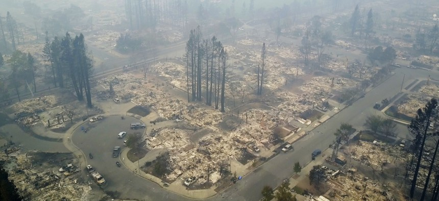 A neighborhood in Santa Rosa, California destroyed by a wildfire.