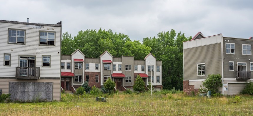 Speculative housing subdivision in University Park, Ill. that was never completed due to the Stock Market crash of 2008.