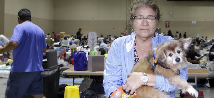 Lilliam Garay carries her pet Michael out for a walk at the Miami-Dade County Fair and Exhibition at Tamiami Park, a pet friendly hurricane shelter, Saturday, Sept. 9, 2017, in Miami, as Hurricane Irma approaches Florida.