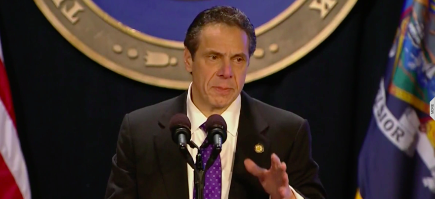 New York Gov. Andrew Cuomo delivers his State of the State Address in Albany.