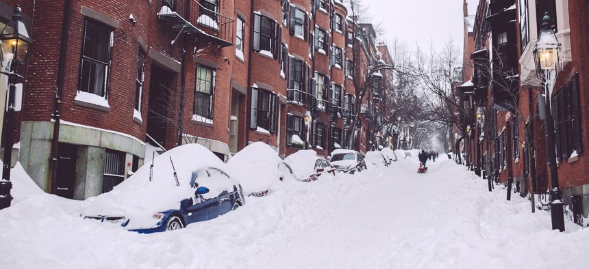 A street in Boston's Beacon Hill neighborhood after a winter storm in 2015.