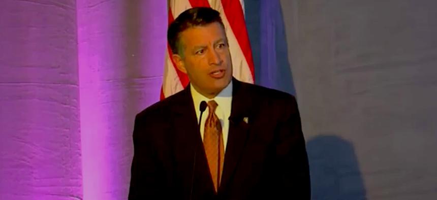 Nevada Gov. Brian Sandoval speaks Wednesday during the National Governors Association Transportation Innovation Summit in Las Vegas.