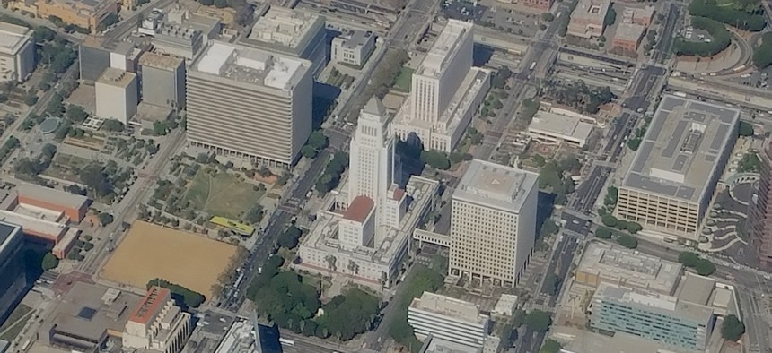 Flying over Los Angeles City Hall