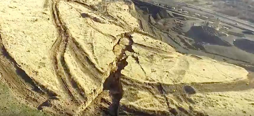 Drone footage shows the Rattlesnake Hills crack near Yakima, Washington.
