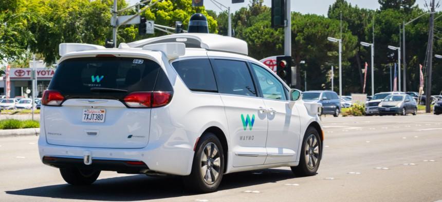 A Waymo self-driving vehicle in Mountain View, California