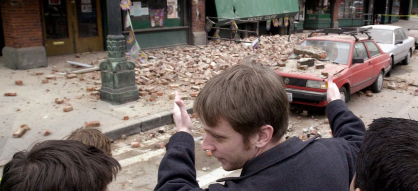 Bricks from damaged buildings fell on the streets in Seattle's Pioneer Square neighborhood following a Feb. 28, 2001 earthquake centered near Olympia, Washington.