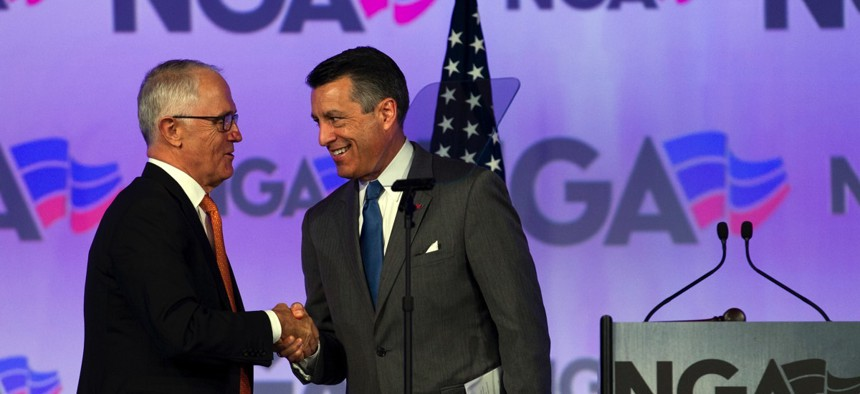 Nevada Gov. Brian Sandoval, right, shakes hands with Australian Prime Minister Malcolm Turnbull during the National Governors Association's winter meeting in Washington, D.C. on Feb. 24.