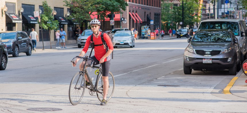 A bicyclist in Chicago.