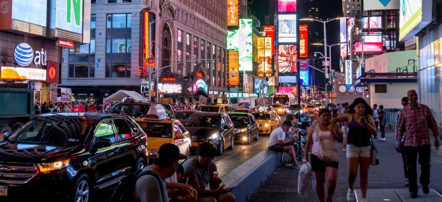 Seventh Avenue in midtown Manhattan near Times Square.