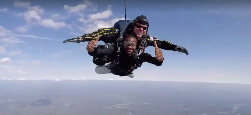 Birmingham, Alabama Mayor Randall Woodfin was thumbs up for at least part of his skydive on Monday.