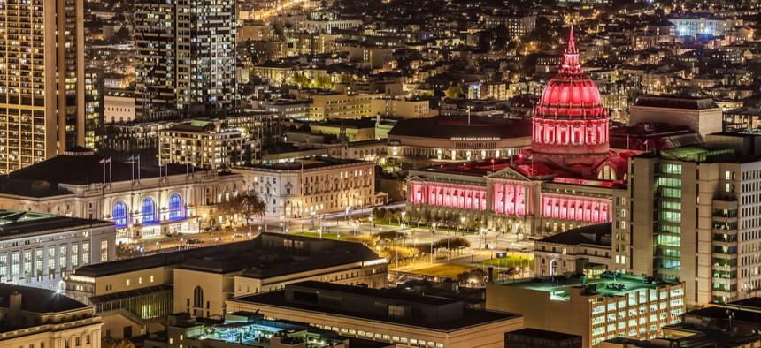 Looking at City Hall at night in San Francisco, California