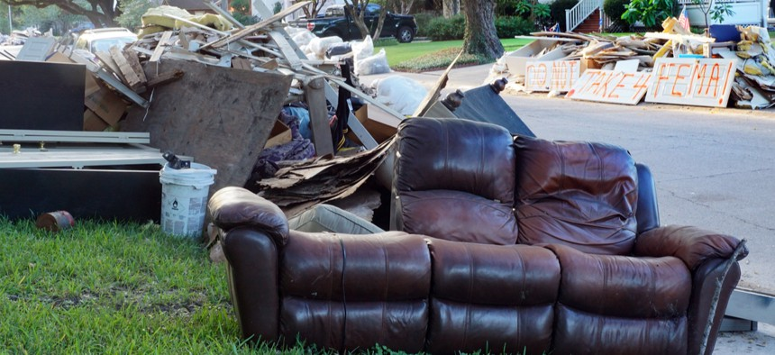 Debris from a flooded Houston neighborhood following Hurricane Harvey in August 2017.