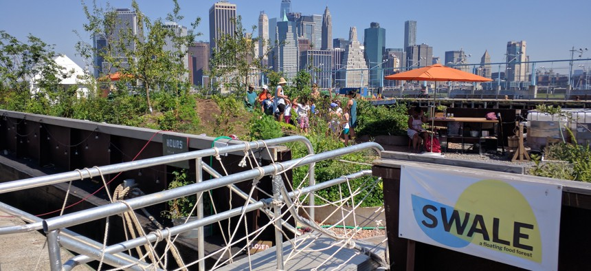 Last year, Swale, a public food forest and foraging barge, was positioned along Brooklyn's East River waterfront.