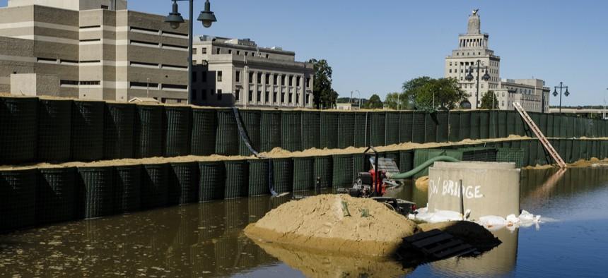 Flooding along the Cedar River in Cedar Rapids, Iowa in 2016.