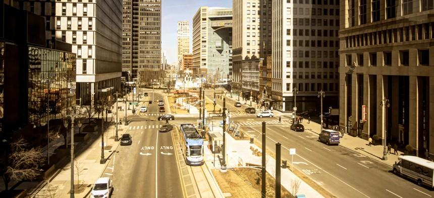 Woodward Avenue in downtown Detroit.