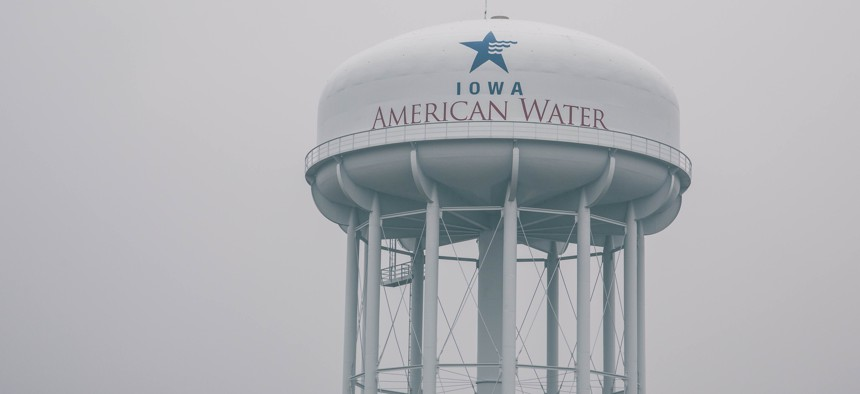 An Iowa American Water Company water tower.