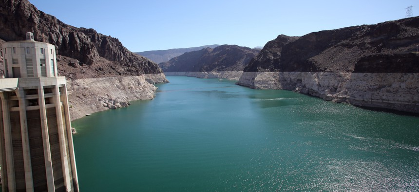 Lake Mead along the Colorado River sits behind Hoover Dam.