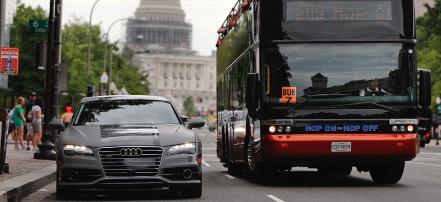 An Audi self-driving vehicle parked on Pennsylvania Avenue near the Capitol in Washington, D.C.
