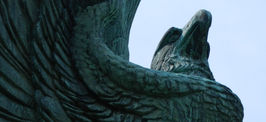 A bronze eagle that's part of a First World War Monument at West End Park in Pittsburgh.