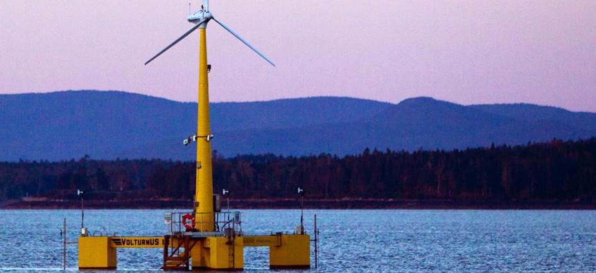 University of Maine's prototype wind turbine generator off the coast of Castine, Maine.