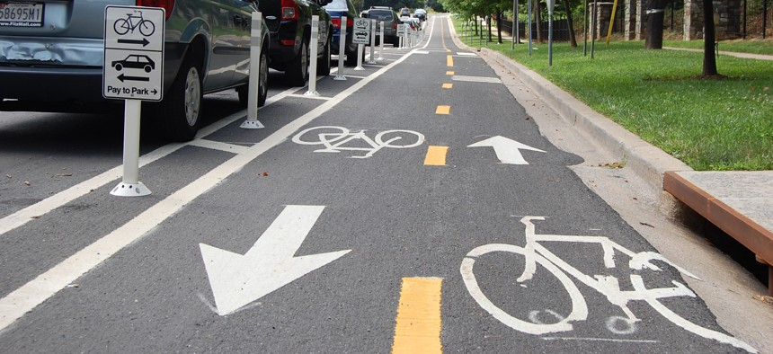 A two-way separated bike lane in White Flint, Maryland.
