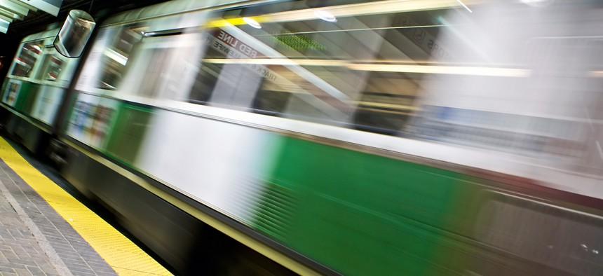 A MBTA trolley moves through the Green Line subway in Boston.
