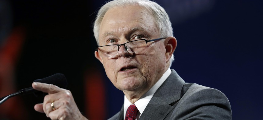 U.S. Attorney General Jeff Sessions makes a point during his speech at the Western Conservative Summit, Friday, June 8, 2018, in Denver.