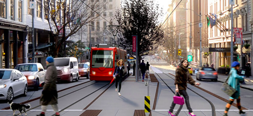 A rendering of the Center City Connector streetcar line along First Avenue in Seattle.