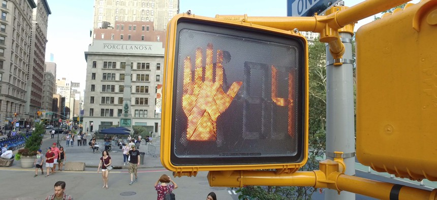 A crosswalk signal in New York City.