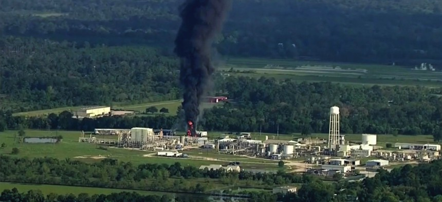 Smoke rises from the Arkema Inc.-owned chemical plant, which flooded and partially exploded during Hurricane Harvey, near Houston, Texas.