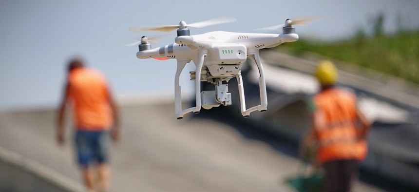 A flying drone armed with camera