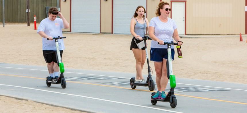 E-scooters in Santa Monica, California