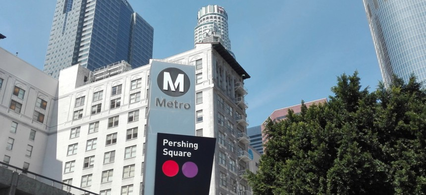 The L.A. Metro serves Pershing Square in downtown Los Angeles.
