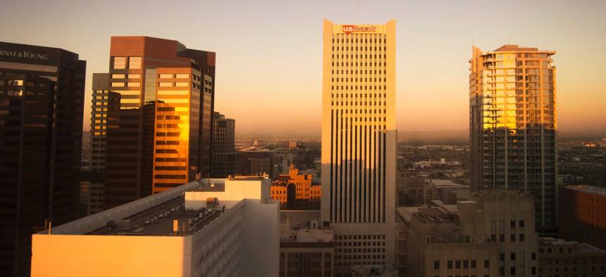 Sunlight on buildings in downtown Phoenix.