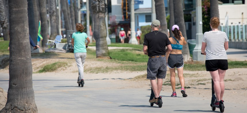Electric scooters being used in Los Angeles.