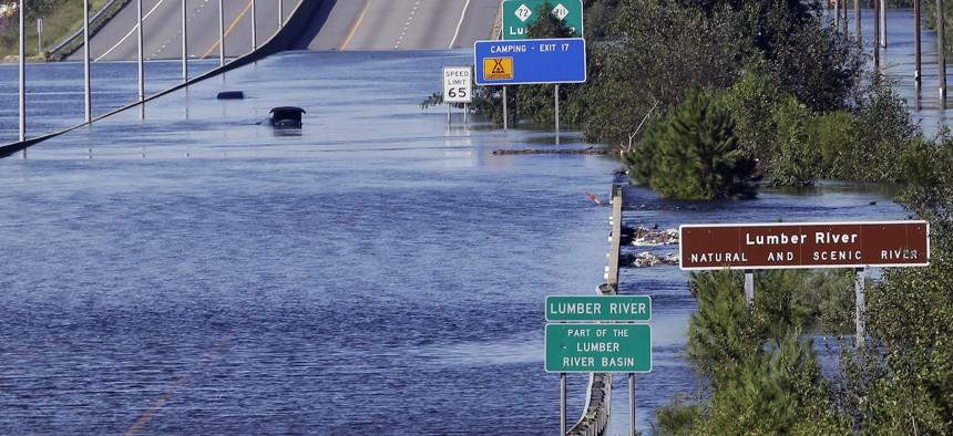Flooding along the Lumber River near Lumberton, North Carolina