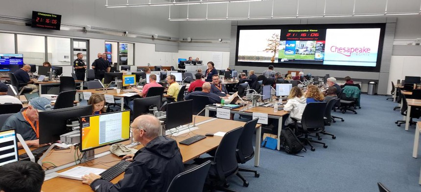 The emergency operations center in Chesapeake, Virginia.