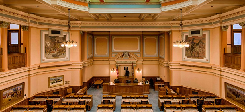 The Wyoming House of Representatives chamber in Cheyenne.